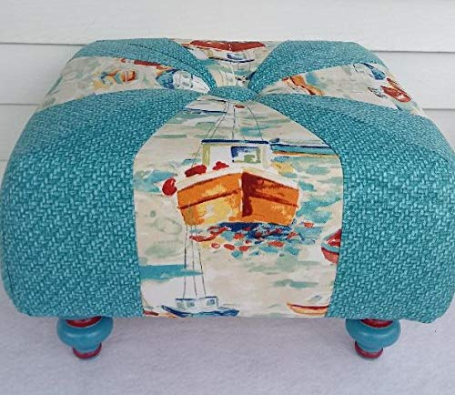 18 inch Handmade Square Turquoise Footstool Max 81% OFF Tuffet Ottoman Boats Purchase