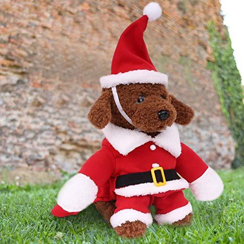 Pawaboo Abbigliamento per Animale Domestico, Costume Divisa da Babbo Natale a Piedi con Cappello per Cane Gatto, Vestito per Halloween Cosplay Natale, Taglia M, Rosso