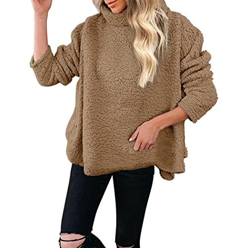 FRMUIC Women's Autumn and Winter Tops Woolen Fleece Long-Sleeved Pullover Solid Color Lapel Sweatshirt Loose Jacket (XX-Large, Khaki)