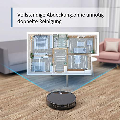 Saugroboter,Tesvor M1 mit 4000PA Powerleistung Roboterstaubsauger WLAN Staubsaugerroboter mit Raumkarte in Echtzeit Optimiert für Tierhaare Allergene Glatt Teppichböden mit APP Alexa/Google - 4