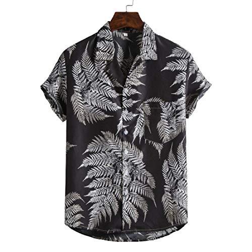 Camisas de Manga Corta con Vestido Floral Entallado para Hombres, Camisas con Botones Estampadas Informales Retro Europeas y Americanas XXL