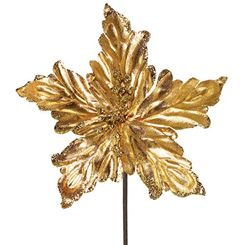 6 Pcs Christmas Gold Metallic Lamé Artificial Poinsettia Flower Picks Glitter Christmas Tree Ornaments 8.2' Wide for Gold Christmas Tree Wreath Garland Winter Wedding Party Decoration