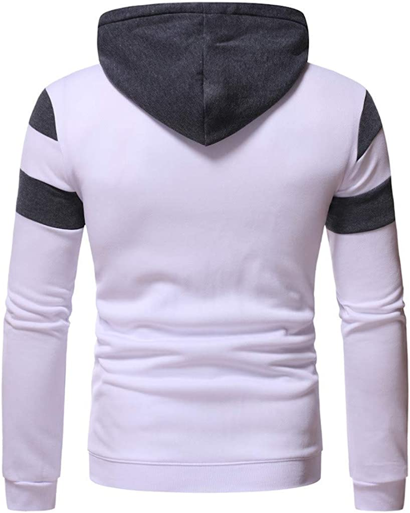Men Long Sleeve Hooded Sweatshirts Fashion Patchwork Regular Fit Tops Casual Pullover Tops Spring Autumn