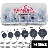 Paradox Fishing Cheburashka - Set di piombo 24 pezzi (3 g/5 g/7 g/10 g/12 g/14), 4 pezzi con scatola (55 pezzi) per gancio offset – Dropshot, piombo drop shot, piombo drop shot, piombo