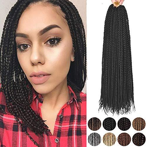 12' Crochet Box Braids Hair - Alileader Short Crochet Box Braids 6 Packs/Lot 132 Strands 1cm in Diameter 3X Synthetic Crochet Hair (#1B)