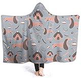 Reset 523 Handgezeichnete Dackel mit Kapuze Decke personalisierte Decken Fleece Decke für Kinder, Erwachsene