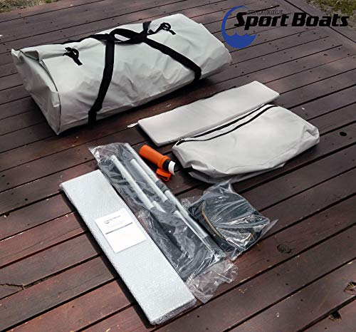 Inflatable Sport Boats - White Marlin 9.8' - Model SB-300A - 2021 Model - Air Deck Floor Premium Heat Welded Dinghy with Seat Bag