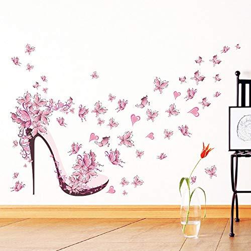 Mode Hoge hak Schoenen Vliegende Vlinders Hart Bloem Muursticker Decals Home Decor Meisjes Kamer Decor Poster