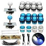 SODIAL LED Arcade Kit 2X Codificador USB de retardo Cero + 2X Palanca de Mando + 20x Boton pulsador Iluminado