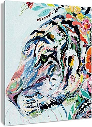 LB Framed Watercolor Tiger Canvas Wall Art African Animal Canvas Art Wall Decor Colorful Wild product image