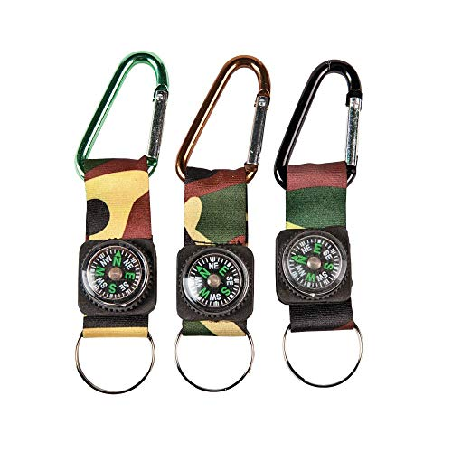 CAMOUFLAGE ARMY BELT CLIP COMPASS KEY CHAINS (1 DOZEN) - BULK
