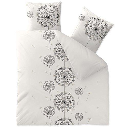 CelinaTex Fashion Fancy Linge de lit réversible Coton Fleurs Blanc Noir Gris 200 x 200 cm