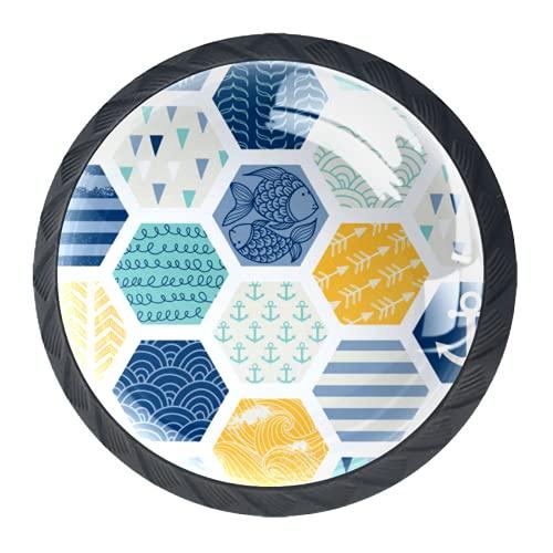 Manijas para cajones Perillas para gabinetes Perillas Redondas Paquete de 4 para armario, cajón, cómoda, cómoda, etc.. Azulejos de mosaico de elementos