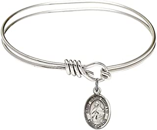 Scholastica Charm On A 8 Inch Round Double Loop Bangle Bracelet St