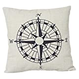 Decorbox Nautical Compass Cotton Linen Pillow Cover 18 x 18''
