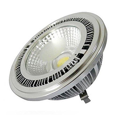 Bombilla Led AR111 casquillo G53 de 12W. Luz Cálida 3000/3500k. Funciona con una tension de 12V. 1080 Lm. Led COB Epistar. CRI 80 en aluminio