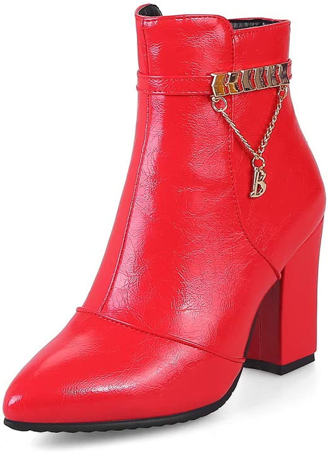 BalaMasa Womens Chunky Heels Zipper Pointed-Toe Patent-Leather Boots ABL11217
