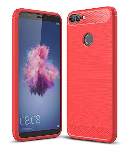 Huawei P Smart Cover, SMTR Slim materiale del silicone Ultra Sottile [Massima Protezione Urti][Design Meccanica Durevole] Per Huawei P Smart - Rosso