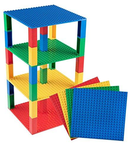 """Stapelbare Premium-Bauplatten - inkl. 30 neuen 2x2-Bausteinen - kompatibel mit allen großen Marken - für Turm-Konstruktionen - Set aus 4 Platten - je 6"""" x 6"""" (15,2 x 15,2 cm) - Gelb, Rot, Grün, Blau"""