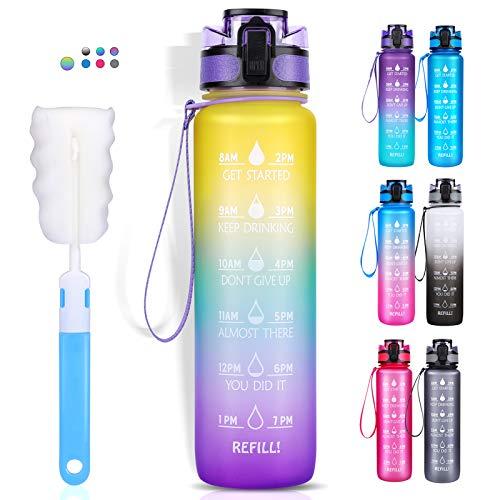 LEHOM Trinkflasche 1L, Wasserflasche Auslaufsicher, Sportflasche BPA-Frei, Tritan Fahrradflasche mit Zeitmarkierung Lila-Mintgrün-Gelb Farbverlauf für Camping Freien, Outdoor, Gym,Schule, Fahrrad,Uni