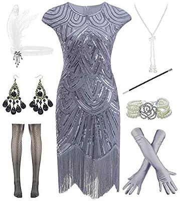 Women Plus Size 1920s Vintage Flapper Fringe Gatsby Party Dress with 20s Accessories Set