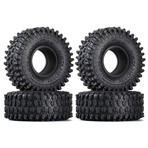 INJORA Neumáticos de Oruga de 2.2 Pulgadas 4Pcs RC Juego de neumáticos de Goma para 1/10 RC Rock Crawler Axial SCX10 RR10 Wraith