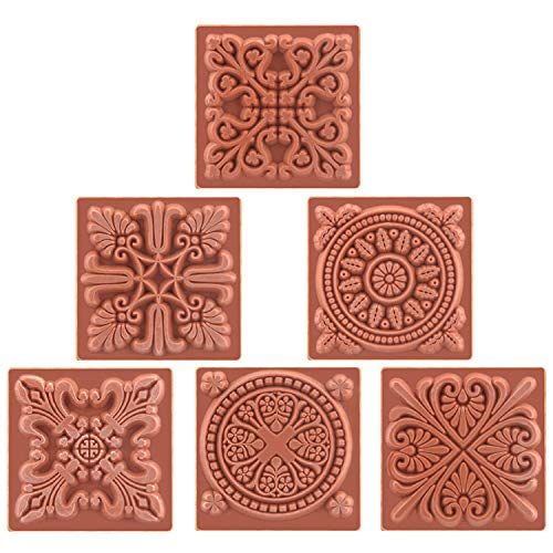 Wooden Square Floral Flower Pattern Rubber Stamp Set for DIY Craft Card Scrapbooking Crafts Designs with Different Patterns - 6 Pack