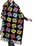 Tengyuntong Bufanda de mantón Mujer Chales para, Chemistry Turvy - Bufanda para mujer divertida periódica, grande, suave, sedosa, de Pashmina, chal de cachemira, abrigo