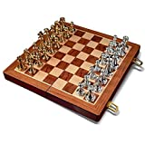 HJSP Viaje de ajedrez Plegable Junta de ajedrez de Gran tamaño Retro Plegable de Madera Ajedrez Entretenimiento Juegos de Mesa (Size : 11.82 Inch)