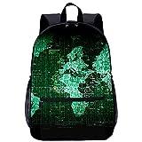 Mochila 3D mochila escolar Mapamundi de matriz verde Adecuado para: estudiantes de primaria y...