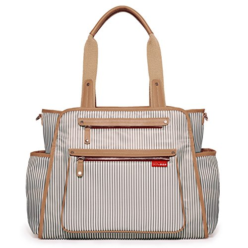 Skip Hop Diaper Bag: Grand Central Take-It-All Tote with Changing Pad & Stroller Attachment, French Stripe