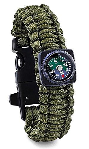 ZENDY Paracord Bracelet Corde avec grattoir Firestarter Inoxydable et Un sifflet et Une Boussole attaquant Multifonction Survie en Plein air (Armée Verte)
