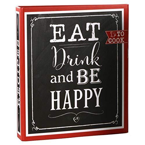 goldbuch 69038 Rezeptebuch Eat, Drink & Be Happy, Rezepte Ordner mit 2-Ring-Mechanik, Erweiterbar, Einband laminierter Kunstdruck, 25 bedruckte Blätter, 21 x 22,5 cm