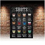 LIUYUEKAI Estilo Vintage Shots Menú Receta Lienzo Arte de la pared Impresión de póster e imágenes para Bar Pub Club Cafe Decor-40x60cm Sin marco