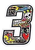 4R Quattroerre.it 13353 Número 3 Sticker Bomb, 10 x 10 cm, Multicolor