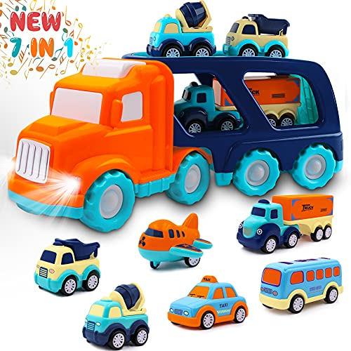Toddler Toys Car for Boys: Kids Toys for 1 2 3 4 5 Year Old Boys Girls | Boy Toys 7 in 1 Carrier Vehicle Toy Trucks Baby Toys 12-18 Months Party Christmas Birthday Gifts for Boys Toddler Toys Age 2-4
