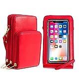 Hattie Bolso de Teléfono Móvil con Pantalla Táctil para Mujer, Bolsos Bandolera de Móvil para Guardar Hasta 6,5' Bolso Monedero Cuero PU Pequeño con 2 Correa de Hombro Desmontable (Rojo)