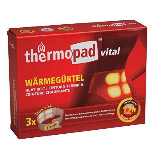 THERMOPAD Wärmegürtel GR. S-XL (Stretch/Klett) – DAS ORIGINAL: 3x Wärmegürtel für 12 Stunden Wärme I Sofort einsatzbereiter Wärmegurt mit extra warmen Wärmezellen – Einweg Nierenwärmer / Rückenwärmer