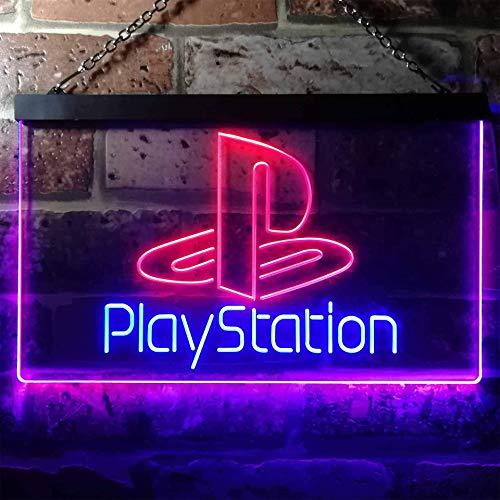 zusme Playstation Game Room Kid Novelty LED Neon Sign Blue + Red W40cm x H30cm