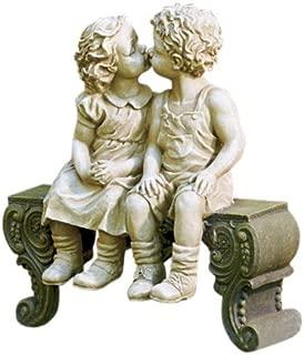 Kissing Boy & Girl on Bench Detailed Garden Ceramic Garden Yard Statue Art 15 X 12-1/2 X 5-3/4