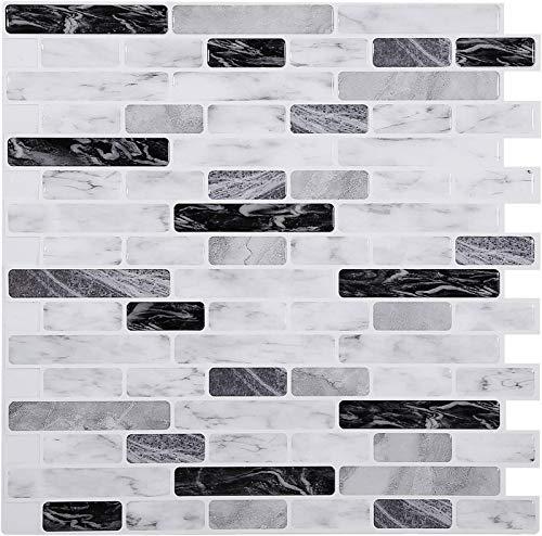 ASDFGH Papel Pintado de mármol Blanco 12x12En - Fondo de Pantalla Impermeable Autoadhesivo, para Cocina, baño, Sala de Estar (Item_Package_Quantity : 1)