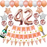 Happy 42nd Birthday Party Decorations Rose Gold Latex and Confetti Balloons Happy Birthday Banner Foil Number Balloons and More For 42 Years Old Birthday Party Supplies (colorpartyland)