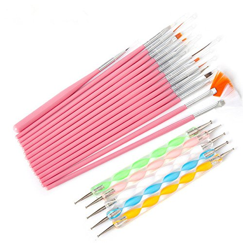 Ranvi nail art brosses, dotting stylos marbrures détaillant peinture outils de striping 20pcs kit - meilleur pour nail art et peinture détaillée du visage (rose)