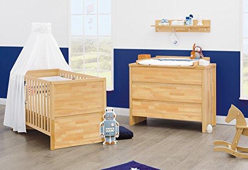 Pinolino Sparset Fagus breit, 2-teilig, Kinderbett (140 x 70 cm) und breite Wickelkommode mit Wickelansatz, Buche massiv, geölt (Art.-Nr. 09 21 57B)