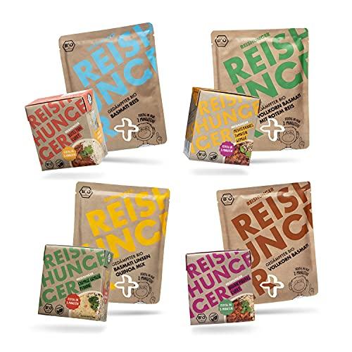 3 Minuten Fertiggericht BIO Lunch Set - 4 leckere 3 Minuten Fertiggerichte & 4 Sorten Mikrowellen Reis - Vegan, Glutenfrei & Ohne Konservierungsstoffe
