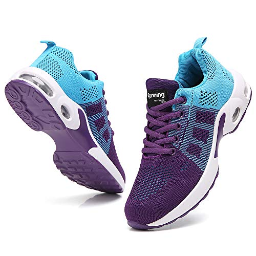 TSIODFO Women Sport Running Tennis Walking Shoes mesh Breathable Comfort Ladies Cushion Gym Athletic Jogging Sneakers Blue Purple Size 8
