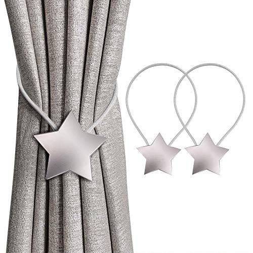 Lazz1on Hebilla de Cortina Magnética Abrazaderas para Cortinas Clip Alzapaño Cortina Hebilla Decorativa con Diseño de Flores para Hogar Oficina Dormitorio Cafetería 2 Pcs