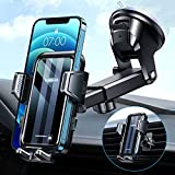 VANMASS Car Phone Holder Mount [Big Phone Never Drop] Phone Holder for Car Heatproof Suction Cup, Hands-Free Windshield Air Vent Dashboard Phone Holder Stand Compatible with All iPhone Samsung, Black