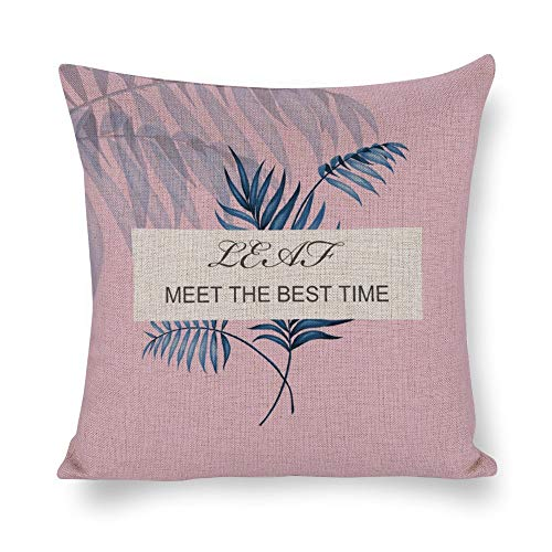 JeanLowell Pillowcase Square Tropical Theme Palm Meet The Best TIME 12×12 Decorative Throw Pillow Covers
