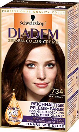 Diadem Seiden-Color-Creme, 734 Samtbraun, 3er Pack (3 x 142 ml)